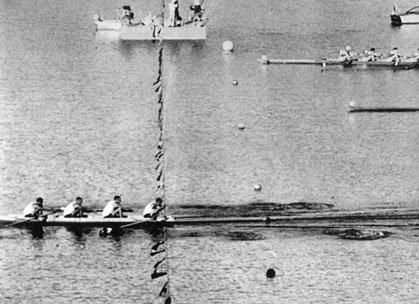 The only gold medal for USA at the Rome 1960 rowing games. Arthur Delancy Ayrault, Stanford '60 Ted Allison Nash, U. Wash. '61 Rusty Wailes, Yale '58 John Sayre, U. Wash. '60 *courtesy Ted Nash Rome 1960 4- Lake Albano Olympics
