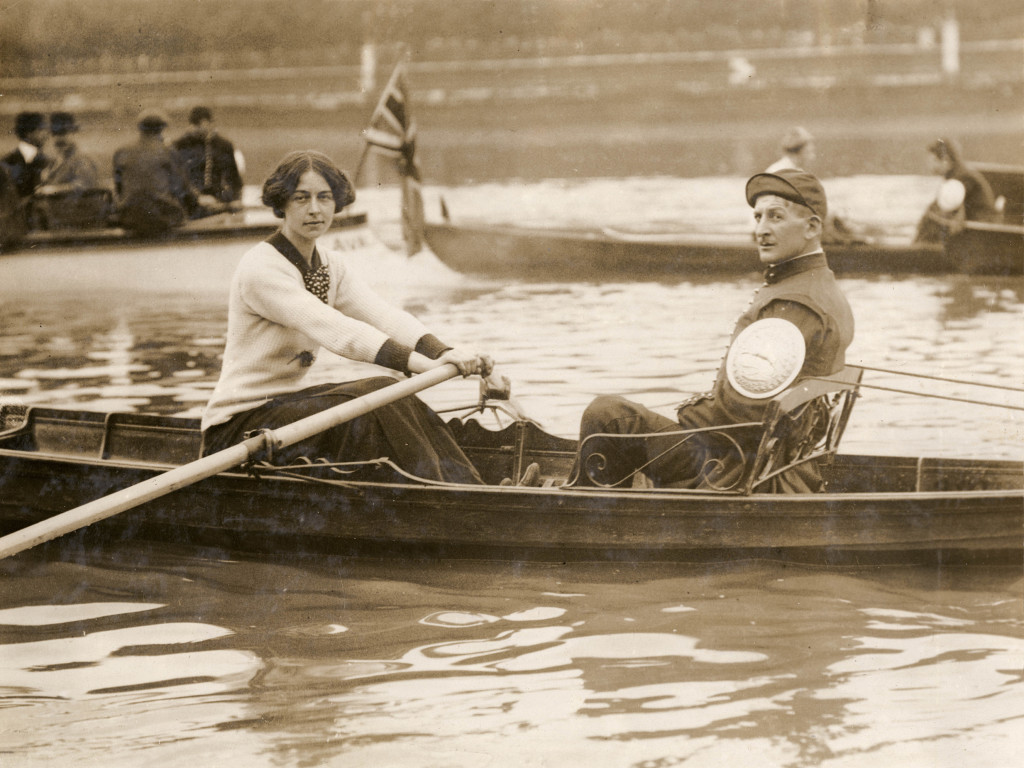 Miss Lucy Pocock, the winner of the Thamesside Water Women's sculling championship. She came from a family of boat builders and sculling champions. Date: 24 August 1912